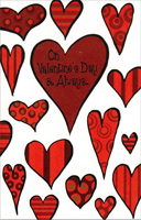 Patterned Hearts on White (1 card/1 envelope) - Valentine's Day Card