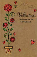Tall Stem with Flowers: Valentine (1 card/1 envelope) - Valentine's Day Card