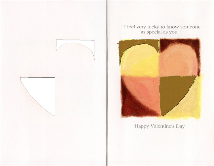 Quartered Pastel & Gold Heart (1 card/1 envelope) - Valentine's Day Card - FRONT: This Valentine's Day�  INSIDE: �I feel very lucky to know someone as special as you. Happy Valentine's Day