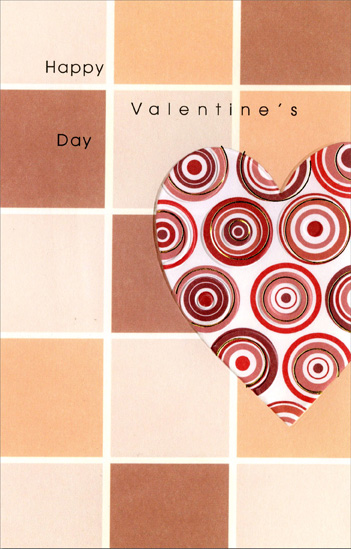 Circles in Heart on Tiles (1 card/1 envelope) Freedom Greetings Valentine's Day Card - FRONT: Happy Valentine's Day  INSIDE: Thank you for always bringing me happiness and showing how much you care.
