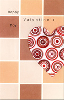 Circles in Heart on Tiles (1 card/1 envelope) - Valentine's Day Card