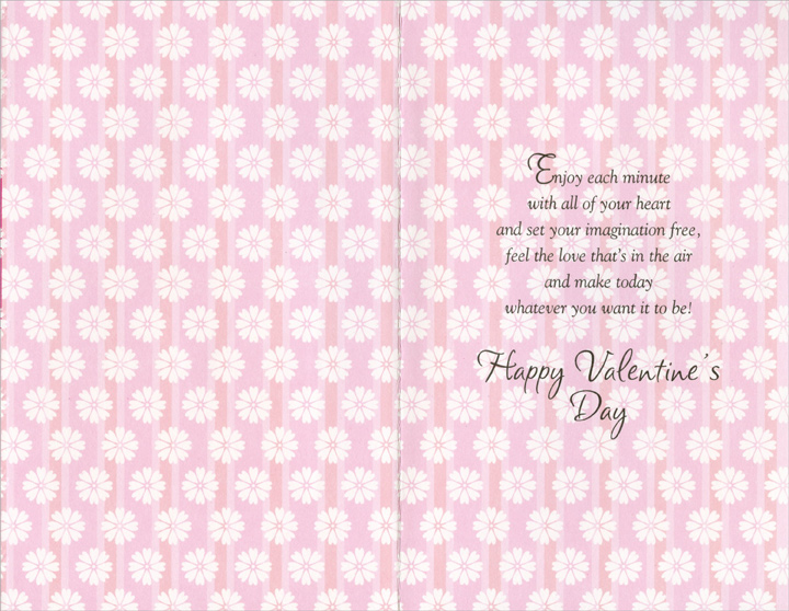 White Flowers on Pink Panels: Valentine Wish (1 card/1 envelope) - Valentine's Day Card - FRONT: Valentine Wish For You  INSIDE: Enjoy each minute with all of your heart and set your imagination free, feel the love that's in the air and make today whatever you want it to be! Happy Valentine's Day
