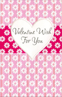 White Flowers on Pink Panels: Valentine Wish (1 card/1 envelope) - Valentine's Day Card