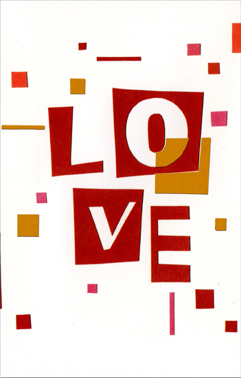 Geometric Love (1 card/1 envelope) Freedom Greetings Valentine's Day Card - FRONT: Love  INSIDE: You're on my mind this Valentine's Day