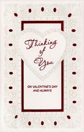Pearl Foil Heart: Thinking of You (1 card/1 envelope) Freedom Greetings Valentine's Day Card - FRONT: Thinking of You on Valentine's Day and Always  INSIDE: On Valentine's Day this year, I'll be thinking of you and hoping that you'll be thinking of me, too! Happy Valentine's Day