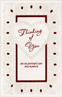 Pearl Foil Heart: Thinking of You (1 card/1 envelope) - Valentine's Day Card - FRONT: Thinking of You on Valentine's Day and Always  INSIDE: On Valentine's Day this year, I'll be thinking of you and hoping that you'll be thinking of me, too! Happy Valentine's Day