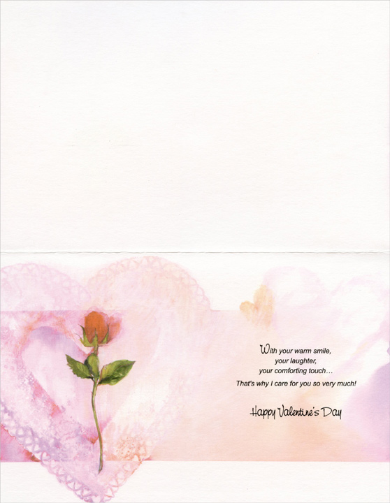 Long Stem Rose: Special Someone (1 card/1 envelope) Freedom Greetings Valentine's Day Card - FRONT: Happy Valentine's Day to Someone Very Special - Ever since I've met you, I've found that it's wonderful having you around�  INSIDE: With your warm smile, your laughter, your comforting touch� That's why I care for you so very much! Happy Valentine's Day