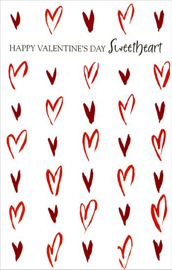 Abstract Red Foil Hearts: Sweetheart (1 card/1 envelope) Freedom Greetings Valentine's Day Card - FRONT: Happy Valentine's Day Sweetheart  INSIDE: I love you and you love me - There's no better symmetry.