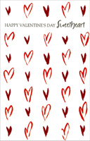 Abstract Red Foil Hearts: Sweetheart (1 card/1 envelope) - Valentine's Day Card - FRONT: Happy Valentine's Day Sweetheart  INSIDE: I love you and you love me - There's no better symmetry.