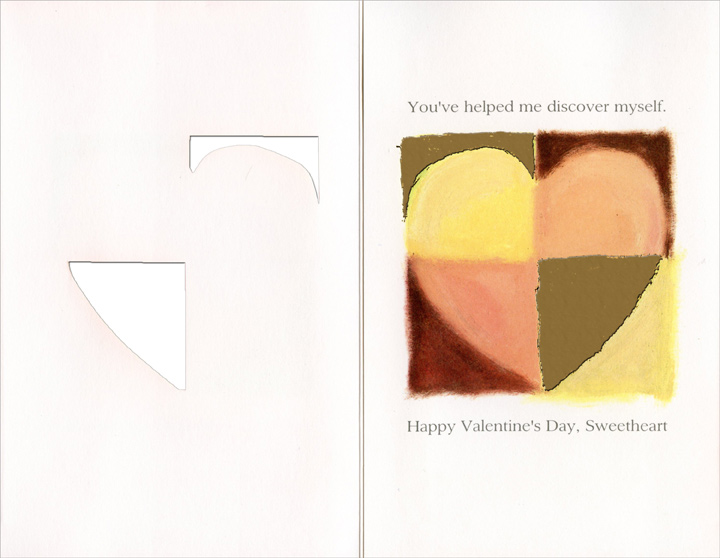 Quartered Pastel & Gold Heart: Embracing My Heart (1 card/1 envelope) Freedom Greetings Valentine's Day Card - FRONT: By embracing my heart�  INSIDE: You've helped me discover myself. Happy Valentine's Day, Sweetheart