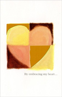 Quartered Pastel & Gold Heart: Embracing My Heart (1 card/1 envelope) - Valentine's Day Card - FRONT: By embracing my heart�  INSIDE: You've helped me discover myself. Happy Valentine's Day, Sweetheart