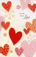 Many Patterened Hearts: One I Love (1 card/1 envelope) Freedom Greetings Valentine's Day Card