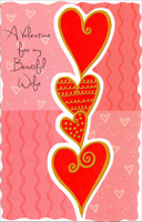 Tower of Hearts: Wife (1 card/1 envelope) - Valentine's Day Card