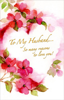 Watercolor Flowers Around Heart: Husband (1 card/1 envelope) - Valentine's Day Card