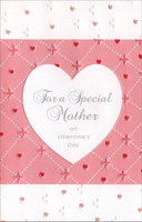 White Heart on Pink Stitching: Mother (1 card/1 envelope) Freedom Greetings Valentine's Day Card
