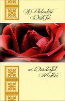 Large Red Rose with Dew: Mother (1 card/1 envelope) - Valentine's Day Card