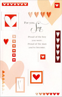 Bordered Hearts and Rows: Son (1 card/1 envelope) - Valentine's Day Card - FRONT: For you, Son - Proud of the boy you were. Proud of the man you've become.  INSIDE: From the day you were born, you've been everything a parent could hope for! Happy Valentine's Day