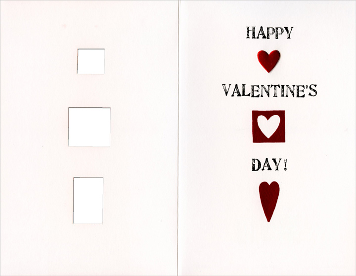 Three Die-Cut Heart Windows: Grandson (1 card/1 envelope) Freedom Greetings Valentine's Day Card - FRONT: Grandson�  INSIDE: Happy Valentine's Day!