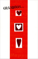 Three Die-Cut Heart Windows: Grandson (1 card/1 envelope) Freedom Greetings Valentine's Day Card