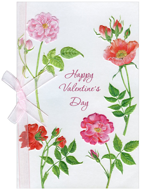 Four Pink Flower Stems (1 card/1 envelope) Freedom Greetings Valentine's Day Card - FRONT: Happy Valentine's Day  INSIDE: It's all the simple acts of kindness that are part of everything you do that make you so special. Have a Wonderful Valentine's Day!