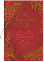 Red Embossed Heart with Branches (1 card/1 envelope) - Valentine's Day Card