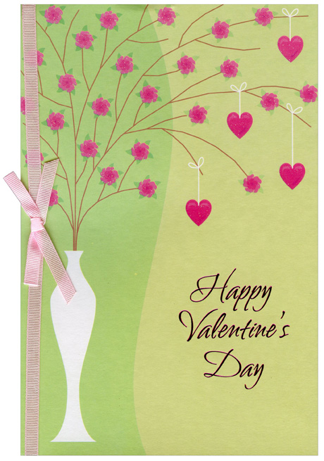 Tall White Vase with Pink Flowers (1 card/1 envelope) Freedom Greetings Valentine's Day Card - FRONT: Happy Valentine's Day  INSIDE: Here's wishing that this Valentine's Day brings lots of love and happiness your way. And may you have a day of joys and sweet pleasure that in the year ahead you'll be sure to treasure.