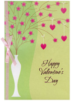 Tall White Vase with Pink Flowers (1 card/1 envelope) Freedom Greetings Valentine's Day Card