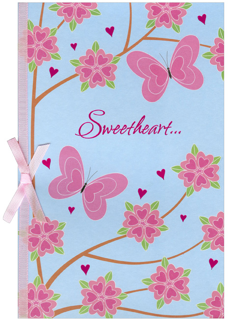 Pink Butterflies & Flowers: Sweetheart (1 card/1 envelope) Freedom Greetings Valentine's Day Card - FRONT: Sweetheart�  INSIDE: Your love fluttered in and stole my heart. Happy Valentine's Day
