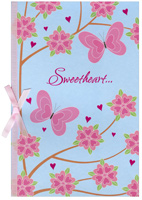 Pink Butterflies & Flowers: Sweetheart (1 card/1 envelope) - Valentine's Day Card