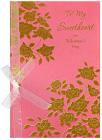 Gold Foill Flowers on Pink: Sweetheart (1 card/1 envelope) Freedom Greetings Valentine's Day Card