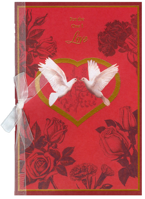 Two White Doves: One I Love (1 card/1 envelope) Freedom Greetings Valentine's Day Card - FRONT: For the One I Love  INSIDE: There's only one person who makes me feel whole, who makes my heart sing, whose love frees my soul. You are that one - the one I desire. You lift up my spirit and help me fly higher. Happy Valentine's Day, with Love