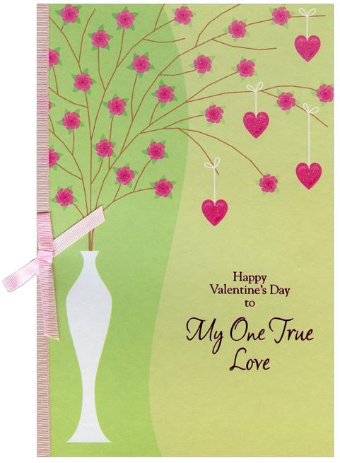 Tall White Vase: One True Love (1 card/1 envelope) - Valentine's Day Card - FRONT: Happy Valentine's Day to My One True Love  INSIDE: Each day I find myself thankful for your love, comforted by your care and amazed by your beauty. May you have a wonderful Valentine's Day