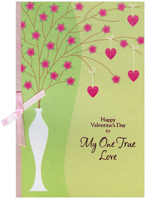 Tall White Vase: One True Love (1 card/1 envelope) - Valentine's Day Card