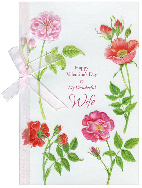 Four Pink Flower Stems Wife Valentines Day Card by Freedom Greetings – Valentine Day Cards for Wife