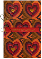 Earthtone Hearts: Husband (1 card/1 envelope) - Valentine's Day Card - FRONT: For My Wonderful Husband  INSIDE: What's mine is yours - What's yours is mine - Our love is boundless, Valentine