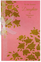 Gold Foil Flowers on Pink: Daughter (1 card/1 envelope) Freedom Greetings Valentine's Day Card