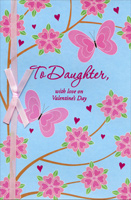 Pink Butterflies & Flowers: Daughter (1 card/1 envelope) - Valentine's Day Card