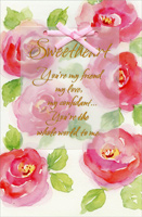 Large Pink Watercolor Flowers: Sweetheart (1 card/1 envelope) Freedom Greetings Valentine's Day Card