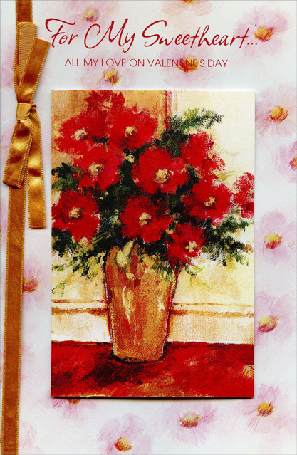 Red Bouquet Painting Sweetheart Valentines Day Card By Freedom