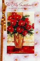 Red Bouquet Painting: Sweetheart (1 card/1 envelope) Freedom Greetings Valentine's Day Card