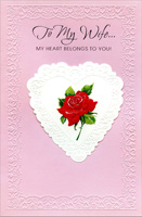 Die-Cut White Embossed Heart: Wife (1 card/1 envelope) Freedom Greetings Valentine's Day Card