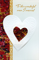 Die-Cut White & Earthtone Heart: Husband (1 card/1 envelope) - Valentine's Day Card