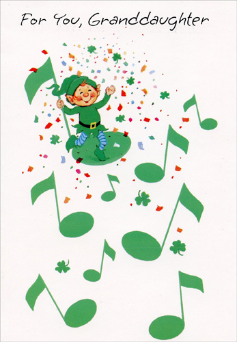Leprechaun Musical Notes: Granddaughter (1 card/1 envelope) Freedom Greetings St. Patrick's Day Card - FRONT: For You, Granddaughter  INSIDE: Granddaughter, hope you won't think it's just blarney If you're told you're the sweetest girl in all Killarney!  Happy St. Patrick's Day