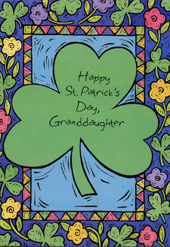 Large Shamrock: Granddaughter (1 card/1 envelope) Freedom Greetings St. Patrick's Day Card - FRONT: Happy St. Patrick's Day, Granddaughter  INSIDE: We've shared a million and one golden moments, and you've given a bouquet of memories to last a lifetime.  There's a part of you in everything that's beautiful about this world.  Just wanted you to know.  Happy St. Patrick's Day