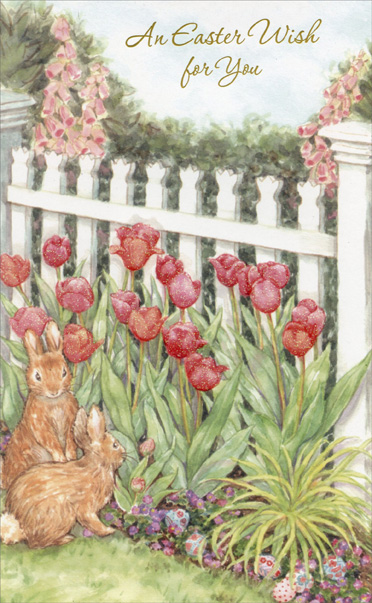 Rabbits and Tulips (1 card/1 envelope) - Easter Card - FRONT: An Easter Wish for you  INSIDE: May everything that is joyous and wondrous and blossoming and sweet fill your heart at Eastertime and make your happiness complete.