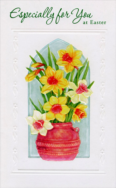 Yellow and White Flowers in Pot (1 card/1 envelope) - Easter Card - FRONT: Especially for You at Easter  INSIDE: An Easter wish that's sent and meant for you especially To hope that Easter's everything you're hoping it will be And if this special Easter wish happens to come true, Easter time this year will be a happy one for you. Wishing You Joy at Easter and Always