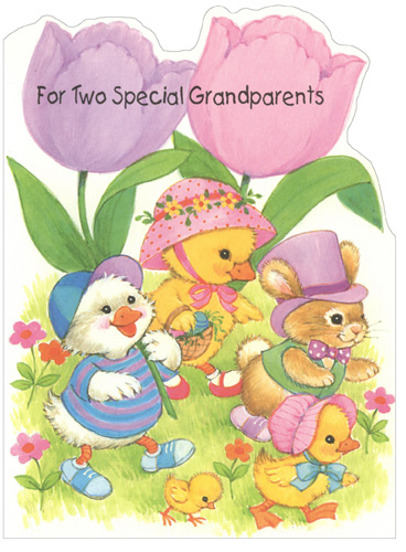 Ducklings & Bunny under Tulips: Grandparents (1 card/1 envelope) - Easter Card - FRONT: For Two Special Grandparents  INSIDE: You're wonderful grandparents! That's why you're going to get lots of wishes for an Easter that's your very nicest yet! - Happy Easter! Have Lots of Fun! Have a Great Day!