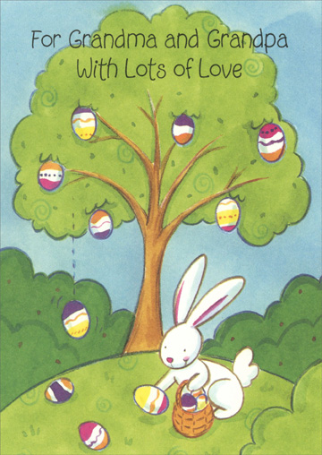 Easter Egg Tree & Bunny: Grandparents (1 card/1 envelope) - Easter Card - FRONT: For Gandma and Grandpa With Lots of Love  INSIDE: Gathering wishes just for you for every happy thing To make your Easter bright and nice and bring you joy all Spring!