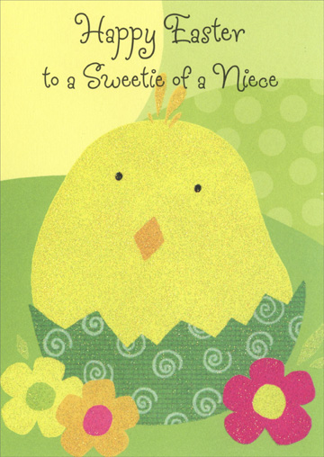 Glitter Chick in Cracked Egg: Niece (1 card/1 envelope) - Easter Card - FRONT: Happy Easter to a Sweetie of a Niece  INSIDE: Sure hope Easter brings fun and surprises your way 'Cause a sweet niece like you deserves a special day!