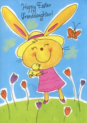 Bunny Holding Duckling: Granddaughter (1 card/1 envelope) Easter Card - FRONT: Happy Easter Granddaughter!  INSIDE: Bunnies and flowers and sunny skies of blue is only the beginning of what is wished for you. You're so special, Granddaughter, may all you dreams come true!